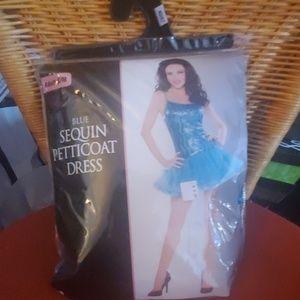 Blue sequin petticoat dress costume